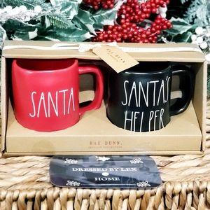 NWT HTF Rae Dunn SANTA'S HELPER / SANTA mug